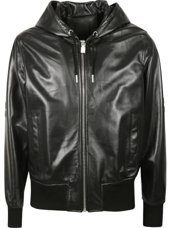 Givenchy Leather Zip Hoodie