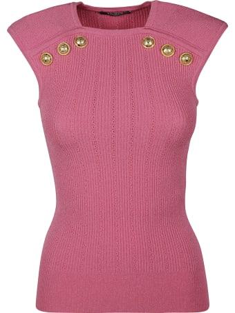 Balmain Button Embellished Sleeveless Top