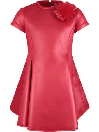Loredana Red Dress For Girl With Pom-pom