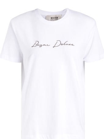 Bazar Deluxe White T-shirt With Brown Logo