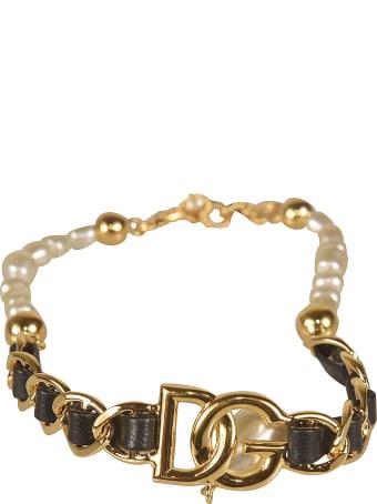 Dolce & Gabbana Pearl Embellished Logo Bracelet