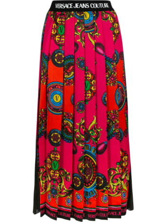 Versace Jeans Couture Pleated Printed Skirt