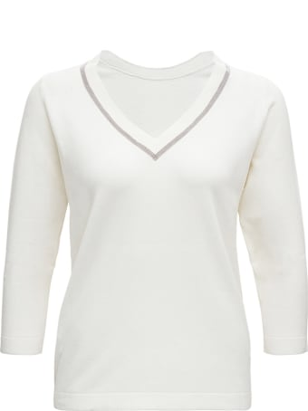 Fabiana Filippi White Wool And Silk Sweater With Bright Detail