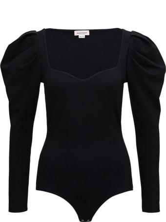 Alexander McQueen Black Sweetheart Bodysuit In Viscose Blend