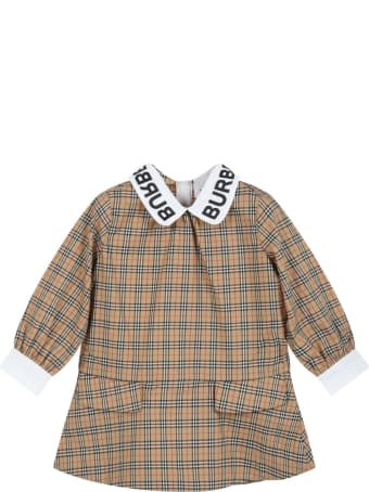 Burberry Beige Dress For Baby Girl With Black Logo