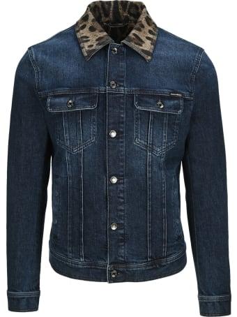 Dolce & Gabbana Dolce&gabbana Leopard-print Collar Denim Jacket