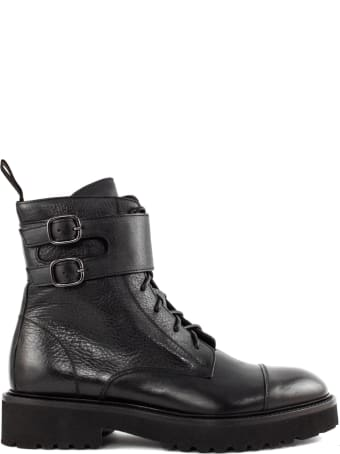 Doucal's Black Lace-up Ankle Boots