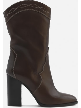 Marc Ellis Laredo Boots In Leather With Contrasting Stitching