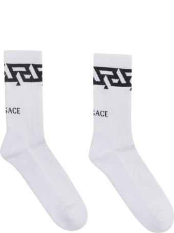 Versace Jacquard Logo Cotton Blend Socks