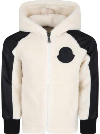 Moncler Ivory Jacket For Kids With Black Logo