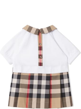 Burberry Beige And White Stretch-cotton Dress