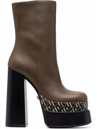 Versace Vitello Greca Platform Bootie