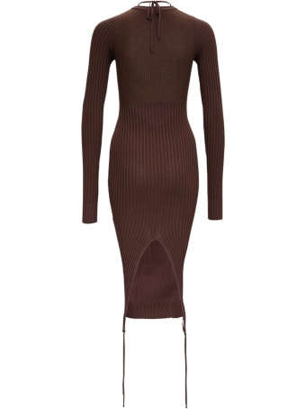 Andrea Adamo Cut-out Dress In Brown Ribbed Knit