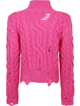 Nervure Cropped Aran Turtleneck Sweater