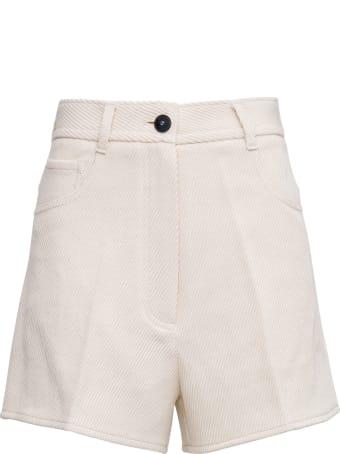 Forte_Forte Diagonal Cotton Blend Shorts