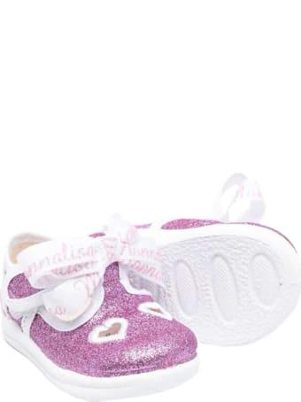 Monnalisa Pink Glitter Ballet Flats