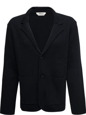 Z Zegna Single-breasted Black Knit Jacket