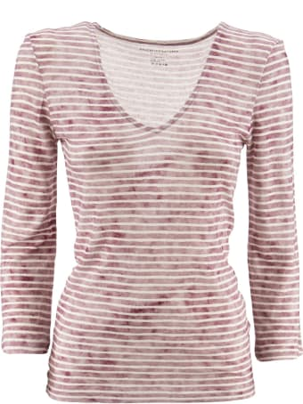 Majestic Filatures Striped T-shirt With V-neck