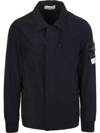 Stone Island Navy Blue Logo-patch Sleeve Jacket