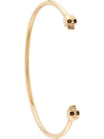 Alexander McQueen Skull Bracelet In Gold-colored Brass
