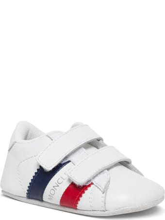 Moncler Leather Crib Sneakers  With Logo