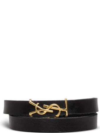Saint Laurent Black Leather Bracelet With Ysl Buckle