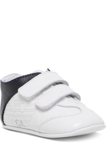 Emporio Armani Cradle Sneakers In White And Blue Leather
