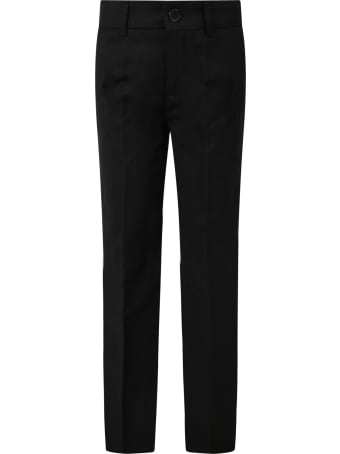 Paul Smith Junior Black Pants For Boy With Satin Details