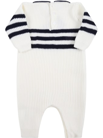 Little Bear White Babygrow For Baby Boy With Blue Details