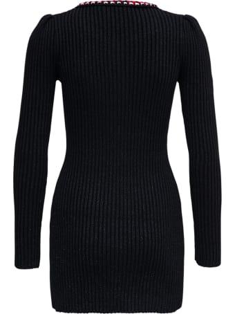self-portrait Black Lurex Cotton Blend Dress