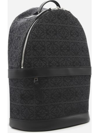 Loewe Backpack In Leather And Jacquard Canvas With All-over Anagram Motif