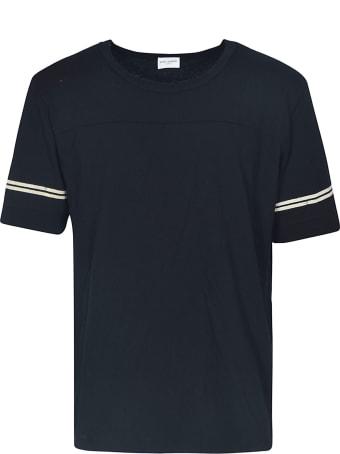 Saint Laurent Stripe Sleeve Back Logo T-Shirt