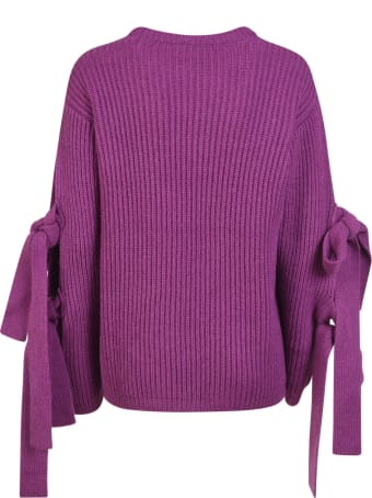 MSGM Ribbed Knit Bow Sleeve Detail Sweater