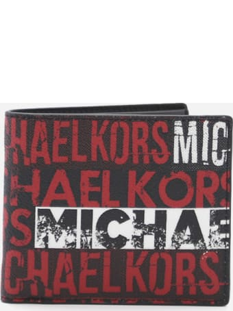 MICHAEL Michael Kors Bifold Wallet In Leather With Contrasting Logo Print