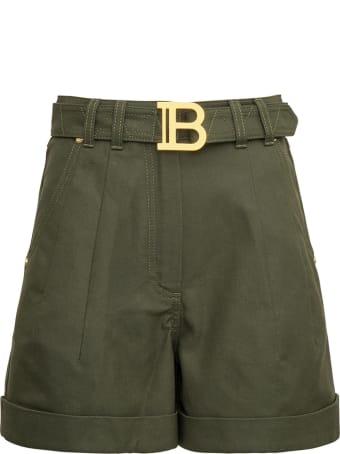 Balmain Belted Shorts In Arym Green Denim