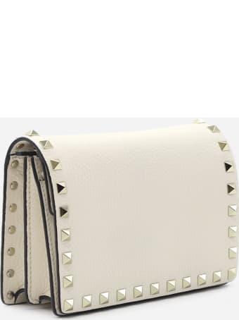 Valentino Garavani Rockstud Leather Clutch With Chain