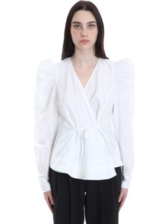 Ganni Blouse In White Cotton