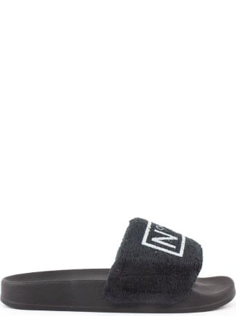 N.21 Black Cotton Terrycloth Slides