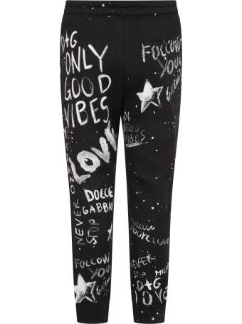 Dolce & Gabbana Black Sweatpants For Babykids With Graffiti Syle Print