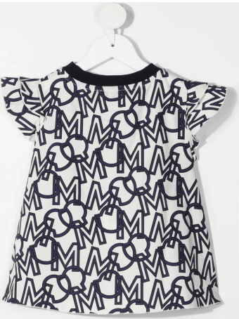 Moncler White And Blue Kid Blouse With All-over Logo