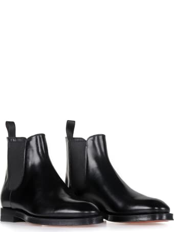 Santoni Beatles In Black Leather