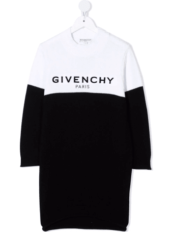 Givenchy Kids Dress In Bicolor Knit With Flocked Logo