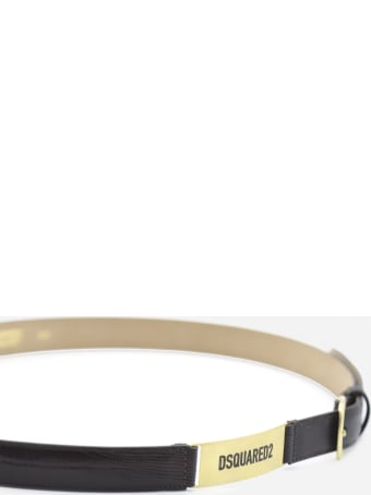 Dsquared2 Embossed Leather Belt With Logo Plate