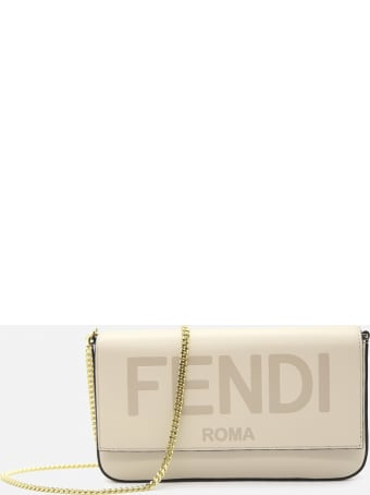 Fendi Wallet On Chain In Leather With Engraved Logo