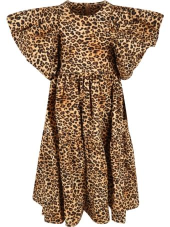 Caroline Bosmans Beige Dress For Girl With Animal Print
