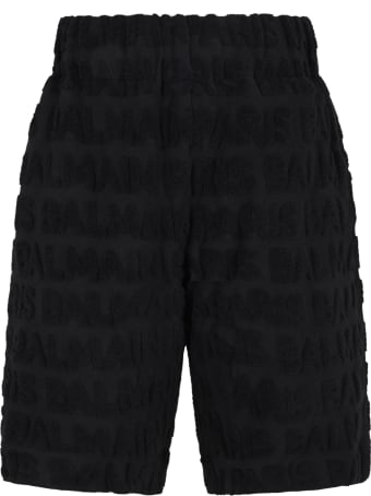Balmain Black Short For Kids With Logos