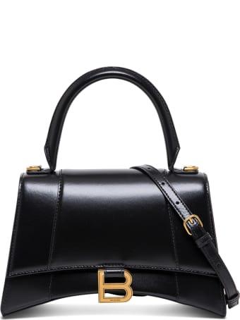 Balenciaga Hourglass Handbag In Black Leather