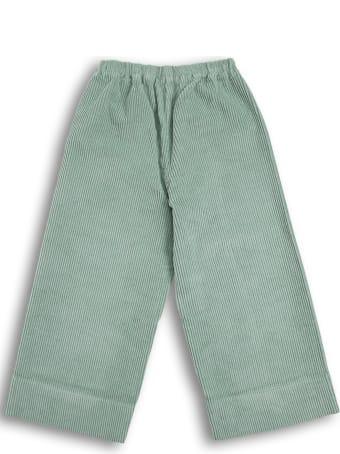 Il Gufo Green Ribbed Cotton Pants