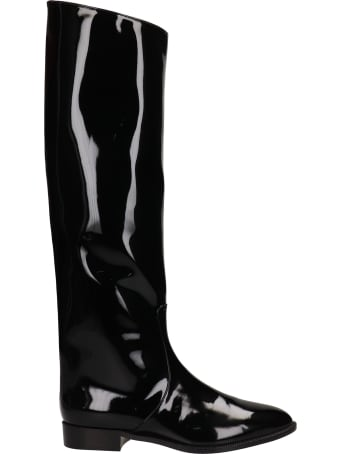 Alexandre Vauthier Low Heels Boots In Black Patent Leather