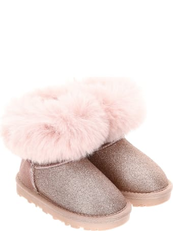 Monnalisa Pink Glitter Boots With Back Bow Detail